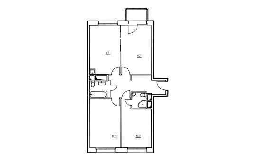 3-комнатная квартира, 84 м<sup>2</sup>, 3 этаж