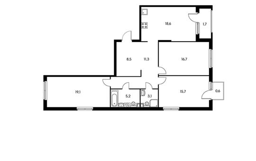 3-комнатная квартира, 98.7 м<sup>2</sup>, 9 этаж_1