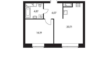1-комнатная квартира, 47.3 м<sup>2</sup>, 2 этаж