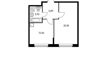 1-комнатная квартира, 42.45 м<sup>2</sup>, 9 этаж