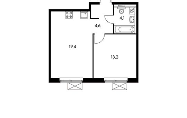 1-комнатная квартира, 41.3 м<sup>2</sup>, 13 этаж_1