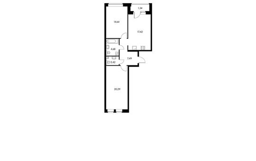 2-комнатная квартира, 68.28 м<sup>2</sup>, 11 этаж