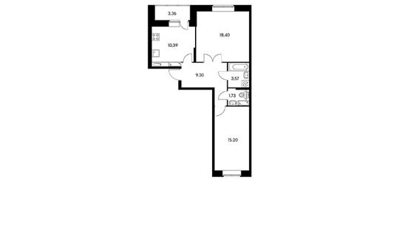 2-комн квартира, 60.5 м2, 21 этаж