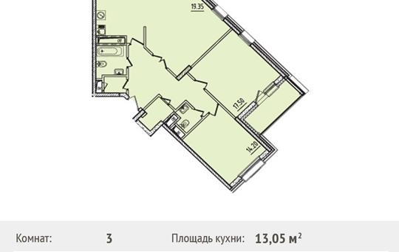 3-комнатная квартира, 93.9 м<sup>2</sup>, 18 этаж