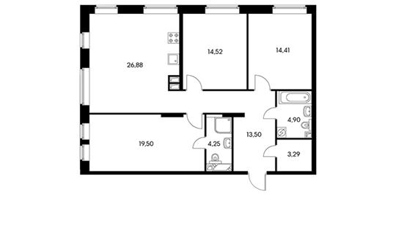 3-комн квартира, 100.7 м<sup>2</sup>, 12 этаж_1