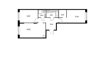 2-комнатная квартира, 69.97 м<sup>2</sup>, 3 этаж