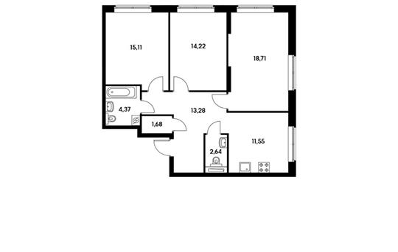 3-комнатная квартира, 81.56 м<sup>2</sup>, 11 этаж_1