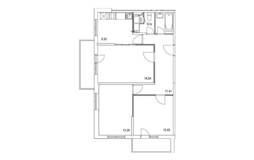 3-комнатная квартира, 71.69 м<sup>2</sup>, 13 этаж_1