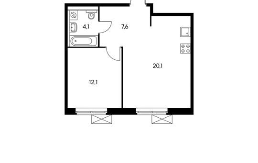 1-комнатная квартира, 43.9 м<sup>2</sup>, 12 этаж_1