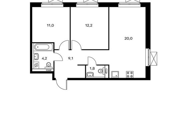 2-комн квартира, 58.3 м<sup>2</sup>, 14 этаж_1