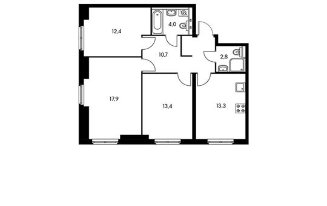 3-комнатная квартира, 74.5 м<sup>2</sup>, 33 этаж