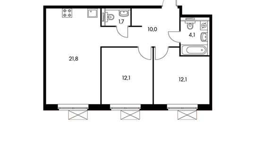 2-комнатная квартира, 61.8 м<sup>2</sup>, 10 этаж_1
