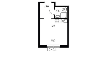 1-комнатная квартира, 23.1 м<sup>2</sup>, 10 этаж