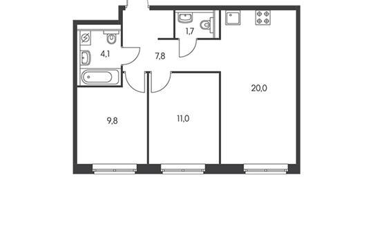 2-комн квартира, 53.5 м<sup>2</sup>, 1 этаж_1