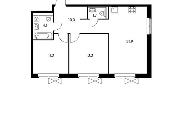 2-комн квартира, 61.8 м2, 10 этаж