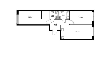 2-комнатная квартира, 70.68 м<sup>2</sup>, 2 этаж
