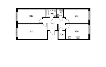 3-комнатная квартира, 98.69 м<sup>2</sup>, 3 этаж_1