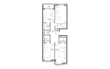 3-комнатная квартира, 87.2 м<sup>2</sup>, 9 этаж