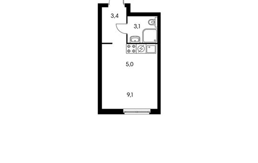 1-комн квартира, 20.6 м2, 16 этаж