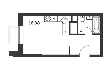 1-комнатная квартира, 26.65 м<sup>2</sup>, 31 этаж