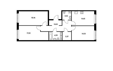 3-комн квартира, 89.76 м2, 2 этаж
