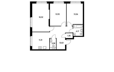 3-комн квартира, 77.69 м2, 2 этаж