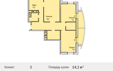 3-комнатная квартира, 100.7 м<sup>2</sup>, 3 этаж