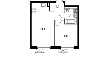 1-комнатная квартира, 38.3 м<sup>2</sup>, 13 этаж