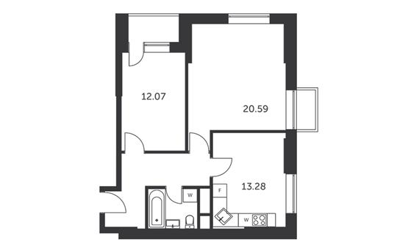 2-комнатная квартира, 59.62 м<sup>2</sup>, 5 этаж