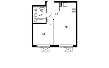 1-комн квартира, 36.2 м<sup>2</sup>, 23 этаж_1