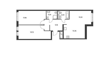 3-комнатная квартира, 84.16 м<sup>2</sup>, 2 этаж