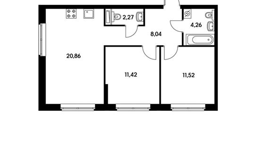 2-комнатная квартира, 56.5 м<sup>2</sup>, 10 этаж