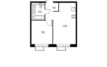 1-комн квартира, 35.9 м2, 18 этаж