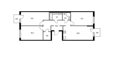 3-комн квартира, 93.6 м2, 2 этаж