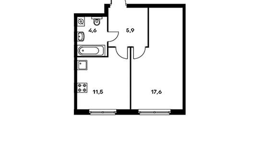1-комн квартира, 39.6 м2, 9 этаж
