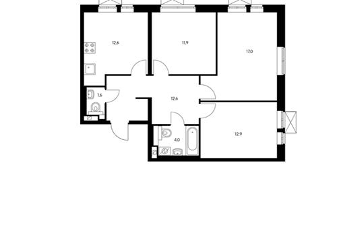 3-комнатная квартира, 72.4 м<sup>2</sup>, 2 этаж
