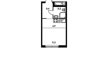 1-комн квартира, 20.9 м2, 2 этаж