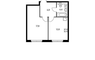 1-комнатная квартира, 41.8 м<sup>2</sup>, 2 этаж_1
