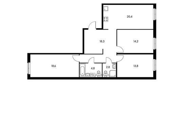 3-комнатная квартира, 91.3 м<sup>2</sup>, 2 этаж