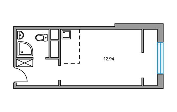 1-комнатная квартира, 24.42 м<sup>2</sup>, 23 этаж