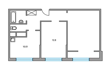 2-комнатная квартира, 55.05 м<sup>2</sup>, 2 этаж