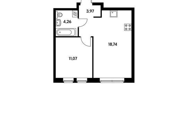 1-комнатная квартира, 37.94 м<sup>2</sup>, 17 этаж