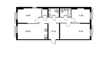 3-комнатная квартира, 93.82 м<sup>2</sup>, 2 этаж