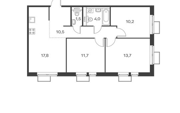 3-комн квартира, 69.5 м2, 2 этаж