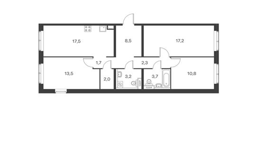 3-комнатная квартира, 80.2 м<sup>2</sup>, 17 этаж