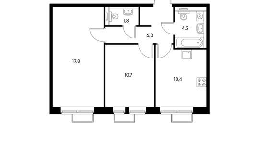 2-комнатная квартира, 51.2 м<sup>2</sup>, 22 этаж