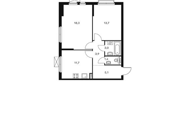 2-комнатная квартира, 57.1 м<sup>2</sup>, 13 этаж