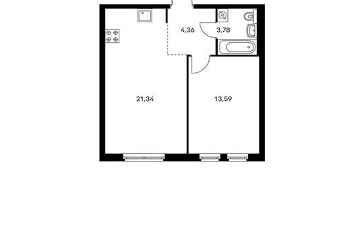 1-комнатная квартира, 43.07 м<sup>2</sup>, 7 этаж