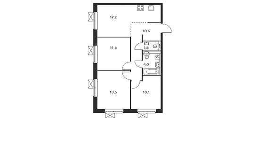 3-комнатная квартира, 68.3 м<sup>2</sup>, 2 этаж