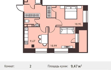 2-комнатная квартира, 48.46 м<sup>2</sup>, 10 этаж